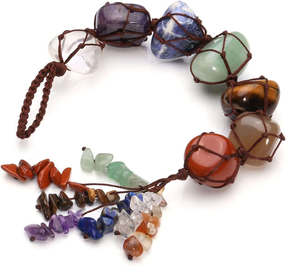 CrystalTears 7 Chakra Crystals Hanging Ornament,Reiki Tumbled Gemstone Window Ornament,Feng Shui Ornament,Yoga Meditation, Decor