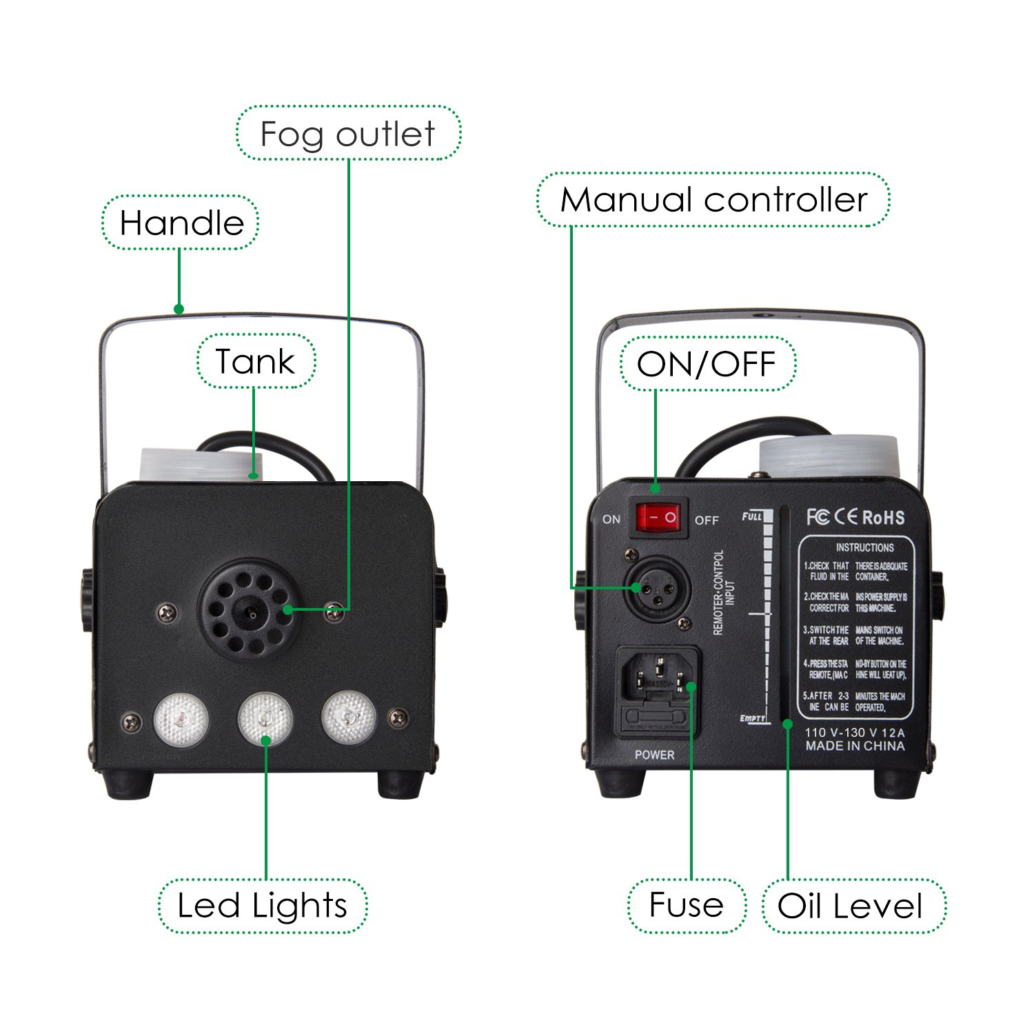 Fog Machine, Miric Smoke Machine Portable with LED Lights Equipped with Wired and Wireless Remote Control for Party, Christmas, Halloween and Weddings (400W) by Miric (Image #3)