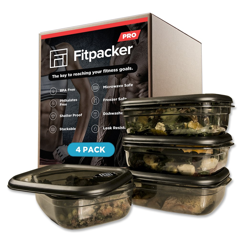 Fitpacker PRO Premium Meal Prep Containers - Rugged Food Storage - Microwaveable, Freezer Safe (33oz - 4pack)