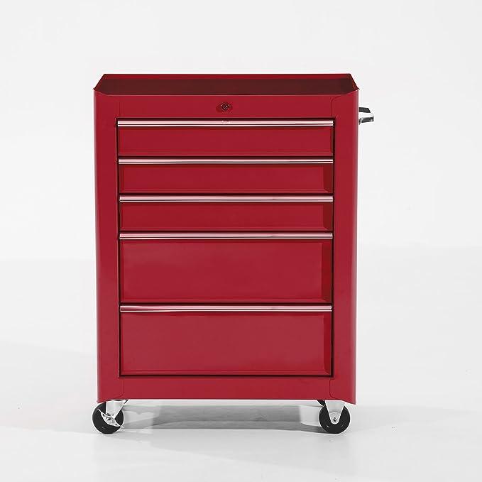HOMCOM Carro de Herramientas Taller Movil con 5 Cajones Ruedas 3 Colores (Rojo): Amazon.es: Bricolaje y herramientas
