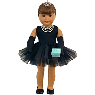 MY GENIUS DOLLS Clothes and Accessories - Breakfast at Tiffany's Inspired - Fit 18 inch dolls like Our Generation, My Life as and American Girl Doll. With Gloves,Shoes,Tiara,Necklace.Doll NOT Included: Toys & Games