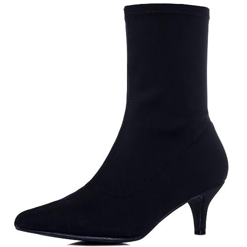 1de4ab8d690ac Kitten Heel Ankle Boots Shoes Black Stretch Sz 3: Amazon.co.uk ...
