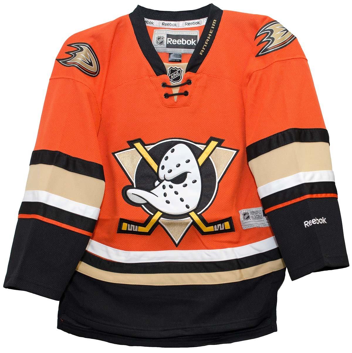 eb134ed4e ... spain amazon reebok edge premier youth hockey alternate jersey anaheim  ducks black large x large sports