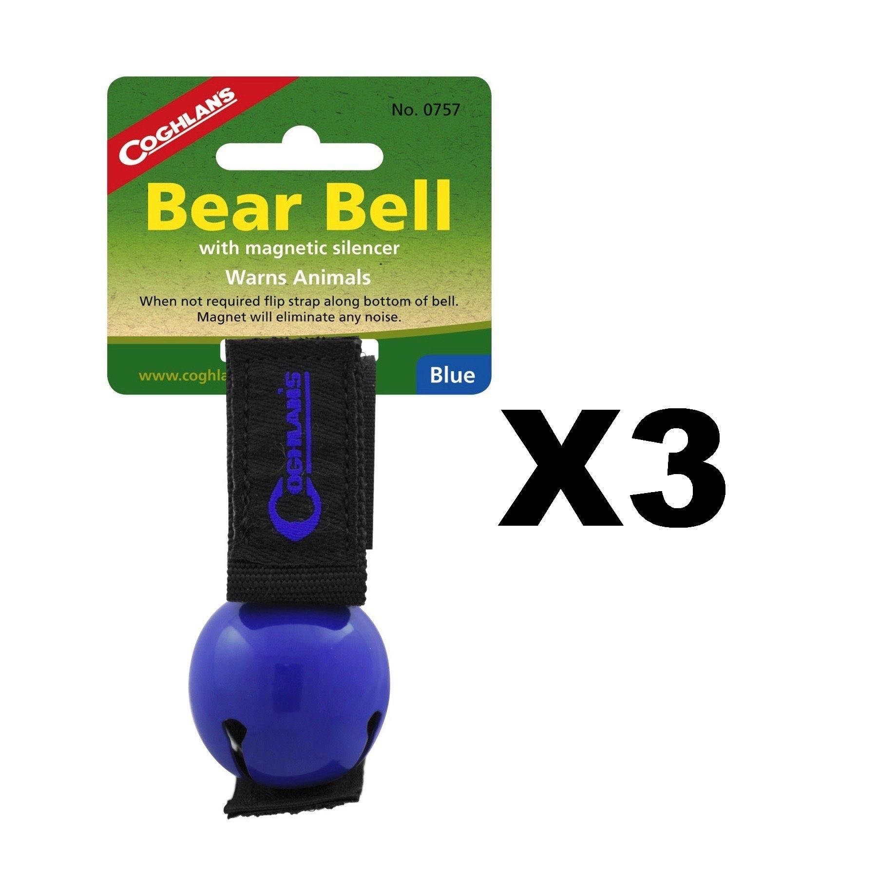 Coghlan's Bear Bell Blue w/Magnetic Silencer & Loop Strap Warns Animals (3-Pack)