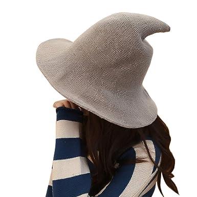 39a8928b3 MIOIM Women Girls Modern Witch Hat Halloween Witch Hat Wide-Brimmed Hat Cap  (M, Brown)