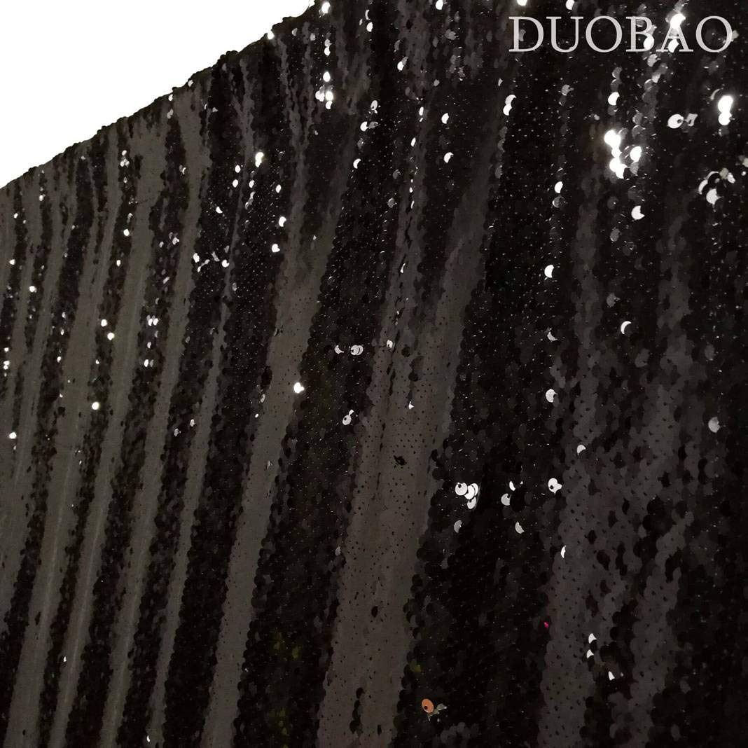 DUOBAO Sequin Backdrop Curtains 2 Panels 4FTx8FT Reversible Sequin Curtains Black to Silver Mermaid Sequin Curtain for Wedding Backdrop Party Photography Background by DUOBAO (Image #4)