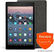 Fire HD 10 Protection Bundle with Fire HD 10 Tablet (32 GB, Black, Previous Generation - 7th), Amazon Cover (Charcoal Black)