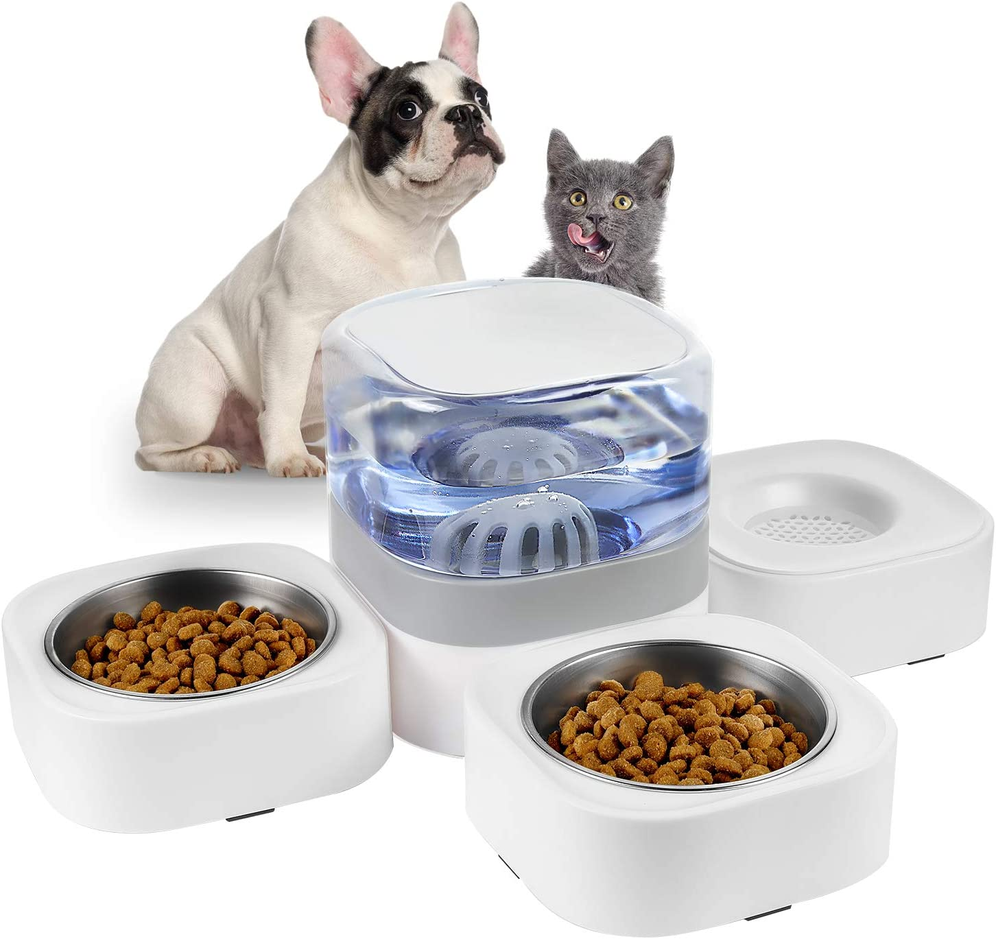 KIMPETS Cat Food and Water Bowl Set, 3-in-1 Detachable Cat Dog Bowl, No Plug in Elevated Cat&Dog Bowl with 63.5 oz, Raised Dog&Cat Bowl with 2 Stainless Steel Cat Bowls, Cat Food Bowls for Indoor Cat