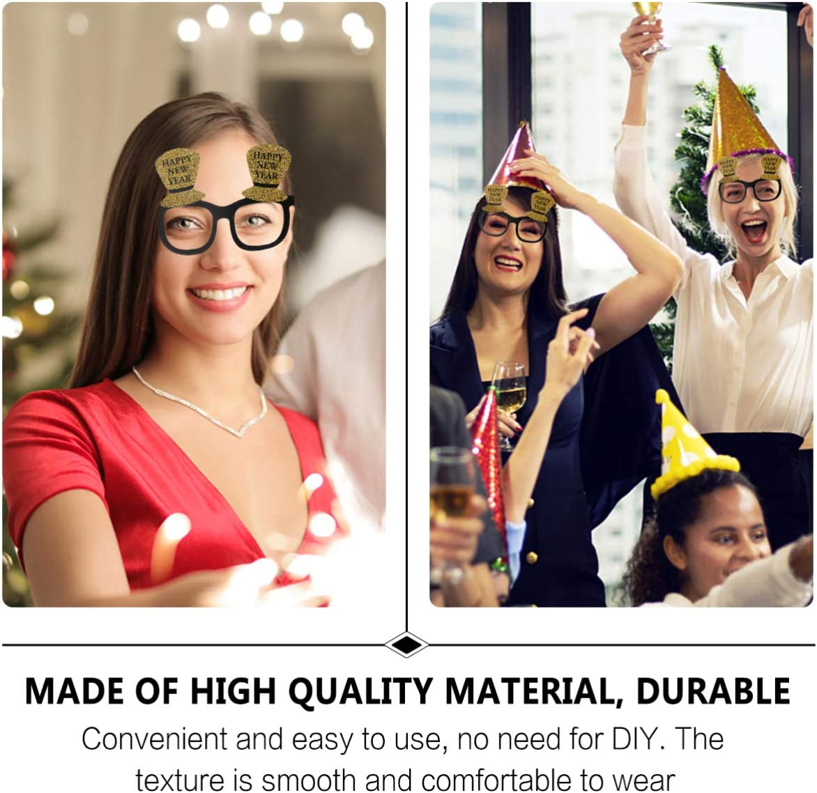 Amosfun 9Pcs 2021 Eyeglasses Happy New Year Glasses Frames Funny Cheering Spectacles Novelty Sunglasses for Christmas New Year Eve Costume Photo Props