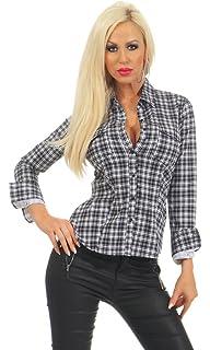 5986 Taillierte Damen Langarm Bluse Hemdbluse Citylook Party Glanz Elegant