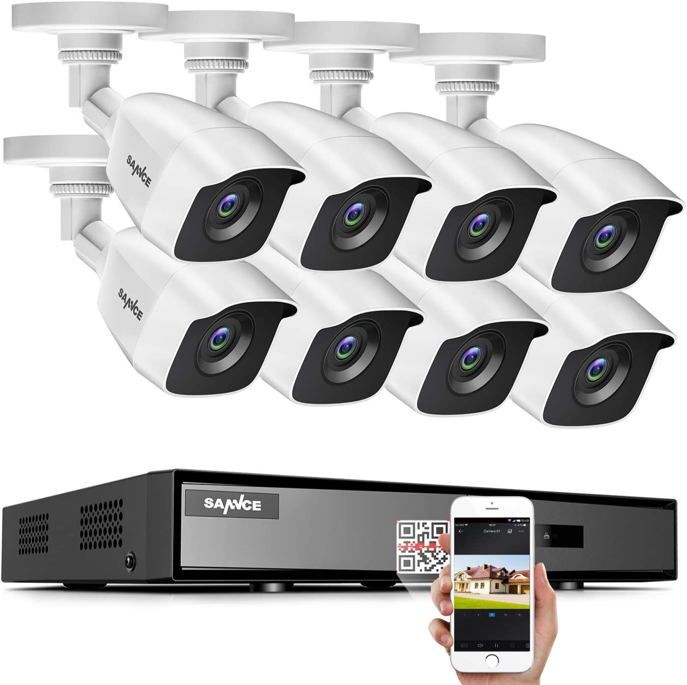SANNCE 8CH 1080N Home Surveillance Camera System and (8) 1080P TVI Weatherproof CCTV Cameras, Infrared Superior Night Vision, P2P & QR Code Scan Remote Access, Wired Security Camera System (NO HDD)