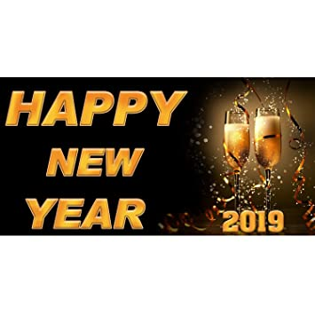 bannerbuzz happy new year 2019 champagne flutes theme banner 11 oz vinyl pvc flex for indoor