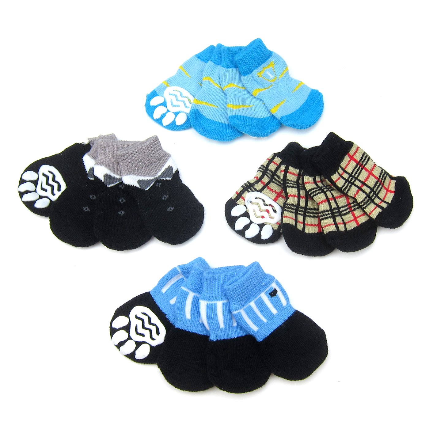 Alfie Pet by Petoga Couture - Sawyer 4 Set of 4 Dog Paw Protection Indoor Socks - Size: Large