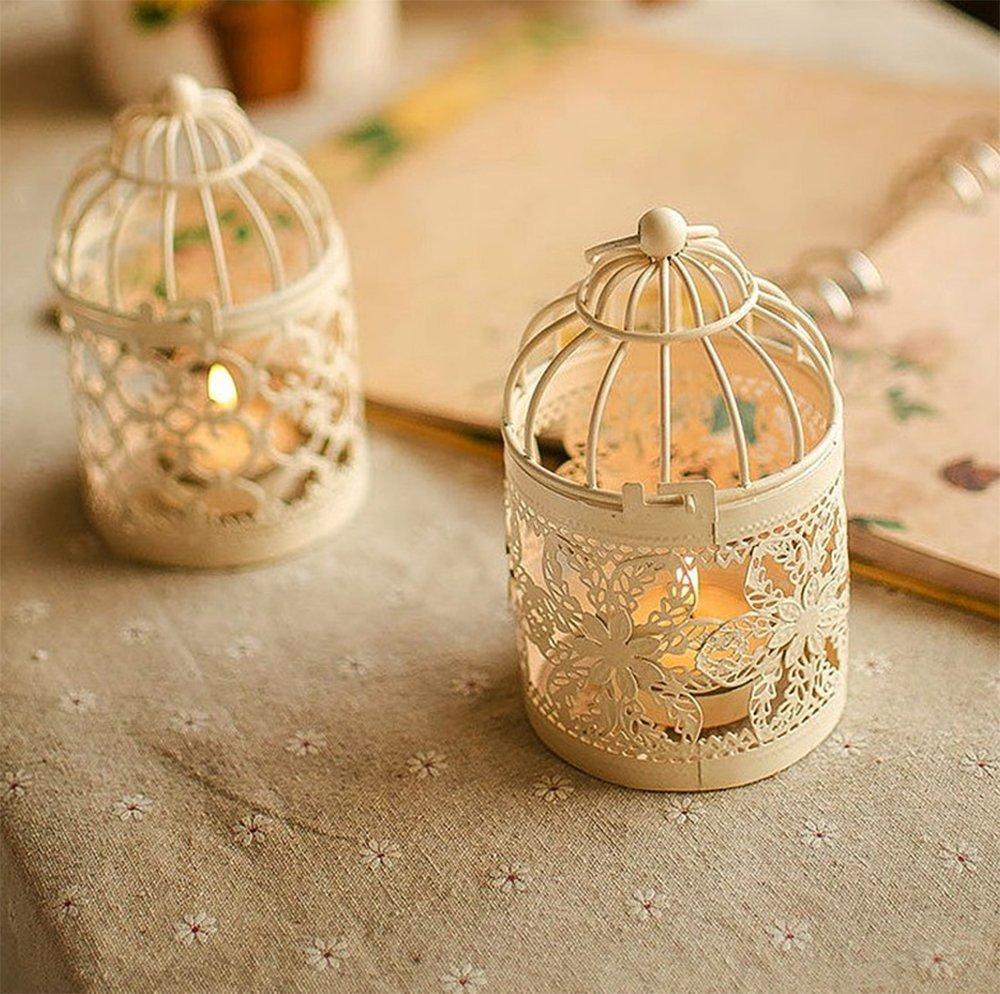 WeiMay Lanternes Porte-bougie M/étal Lanterne /à cage doiseaux Creative Wedding Home D/écoration de table 1pcs