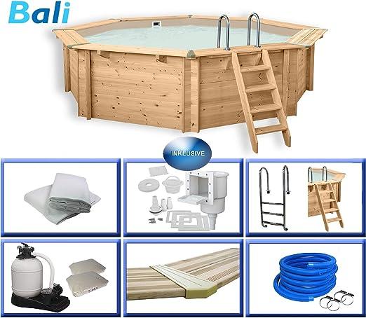 Piscina Paradies Bali, juego completo con accesorios, escalera de acero inoxidable, filtro de arena, piscina para
