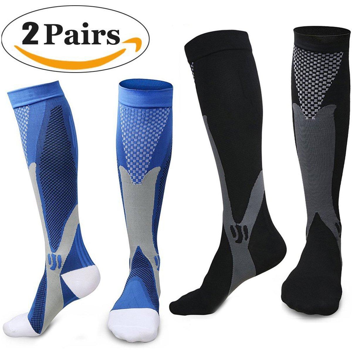 Sintiz Compression Socks for Men & Women (20-30mmHg),Knee High Stockings Graduated Support Athletic Running Pregnancy Health Travel Edema Diabetic Flight Nurses & Recovery Black + Blue S/M