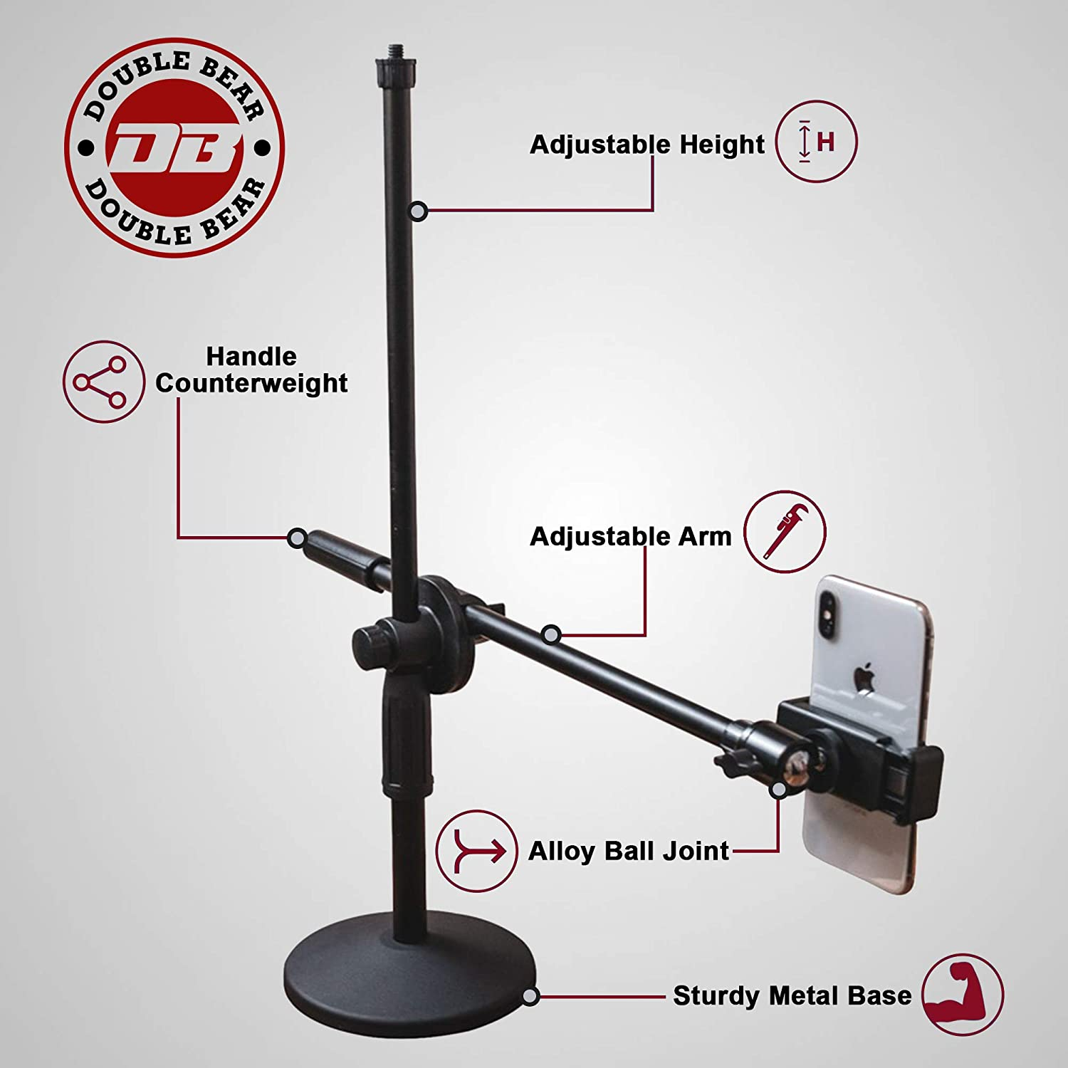 Double Bear Overhead Phone Stand – Phone Mount for Filming, Crafting, Baking, Drawings, Recording – Design for Various Purposes