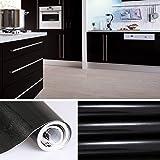 KINLO 5M Papier Peint Adhésif Rouleaux Reconditionné pour Armoires de Cuisine en PVC Self Adhesive Autocollant Meubles Porte Mur Placards Stickers Mural - Noir
