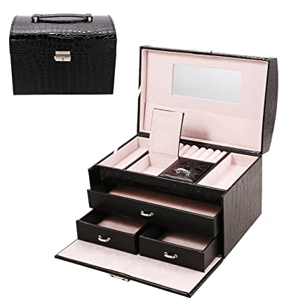 Superbe Elever Jewelry Box Lockable Organizer,Travel Jewelry Makeup Storage Cases  Organizer For Girls Womens,