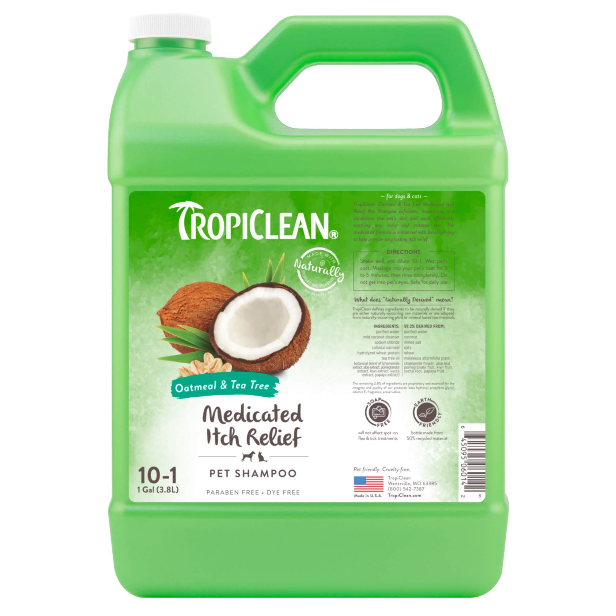 TropiClean Oatmeal & Tea Tree Medicated Dog Shampoo, 1 Gallon by TropiClean