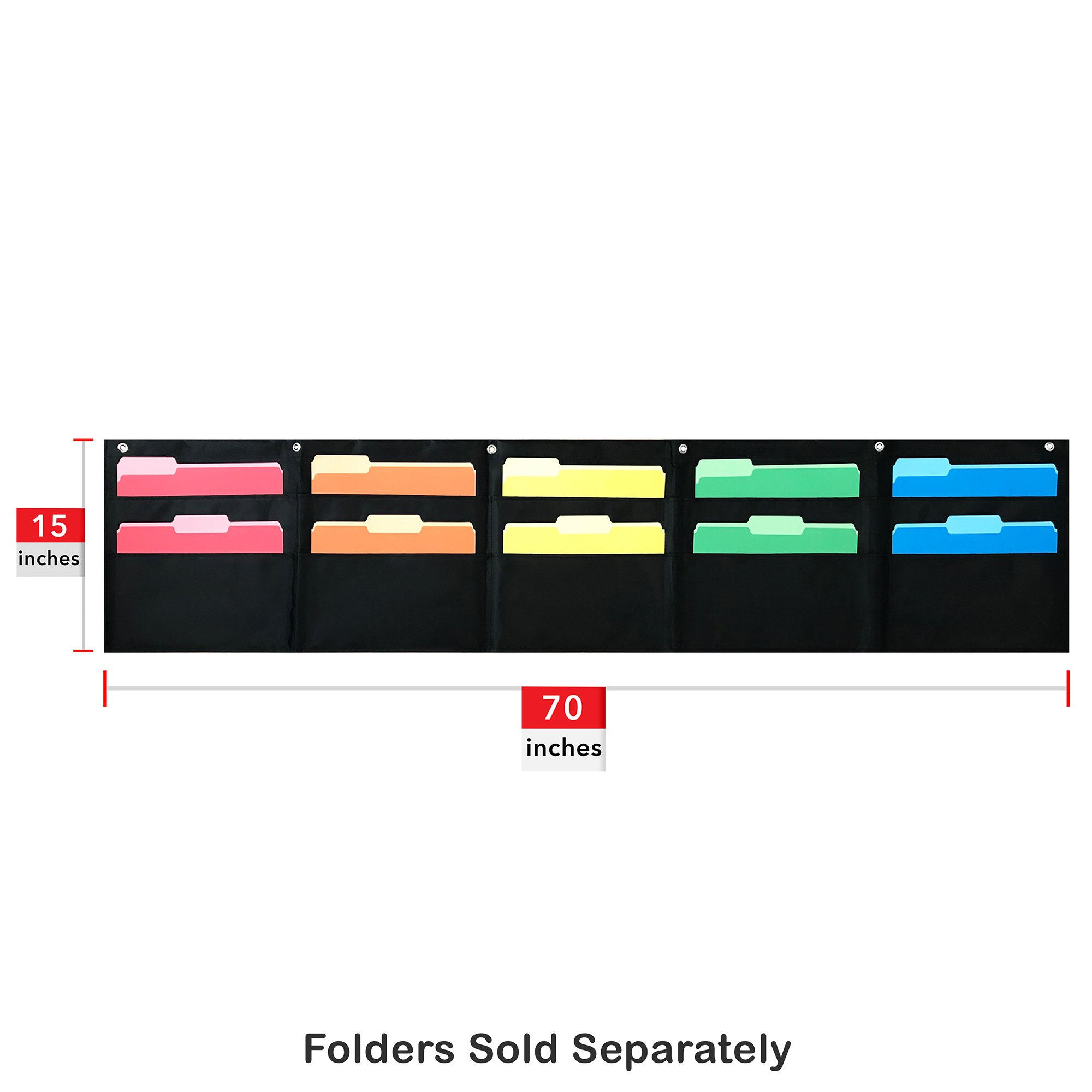 10 Pocket Horizontal Storage Pocket Chart, Hanging Wall File Organizer by Essex Wares - Organize Your Assignments, Files, Scrapbook Papers & More (Black) by Essex Wares (Image #1)