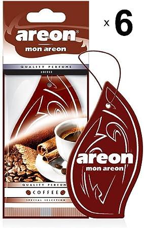 Areon Mon Auto Lufterfrischer Kaffee Duft Autoduft Hängend Aufhängen Anhänger Spiegel Braun Pappe 2d Wohnung Coffee Set Pack X 6 Auto