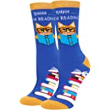 HAPPYPOP Funny Reading Book Theme Math Pencil Socks Gift For librarian Book Lover Bookworm Nerd