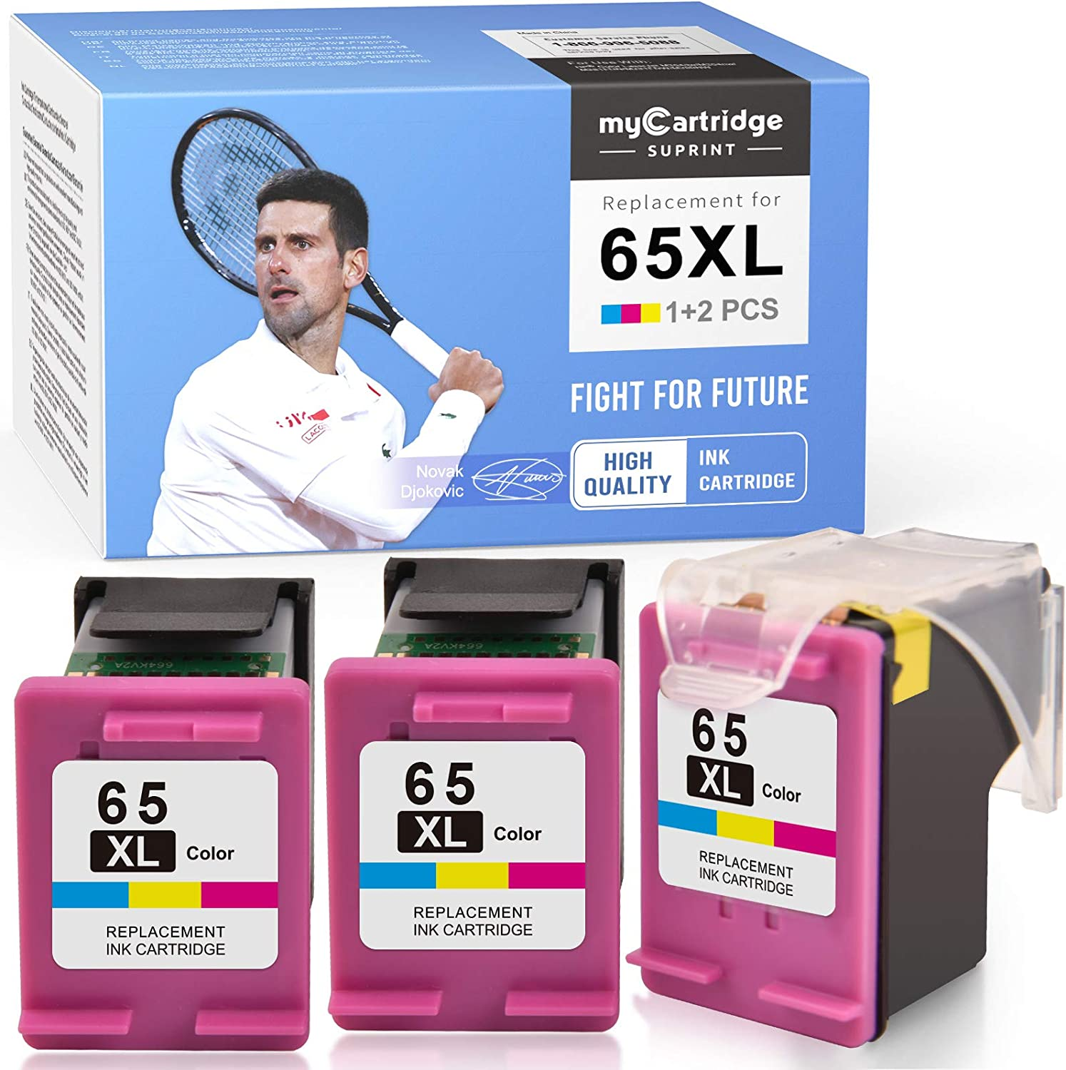 myCartridge SUPRINT Remanufactured Ink Cartridge Replacement for HP 65XL 65 XL Eco-Saver use with DeskJet 3755 2622 3752 2655 2600 2652 2636 2642 3720 3722 Envy 5055 5052 5012 (Tri-Color, 1 + 2 Pack)