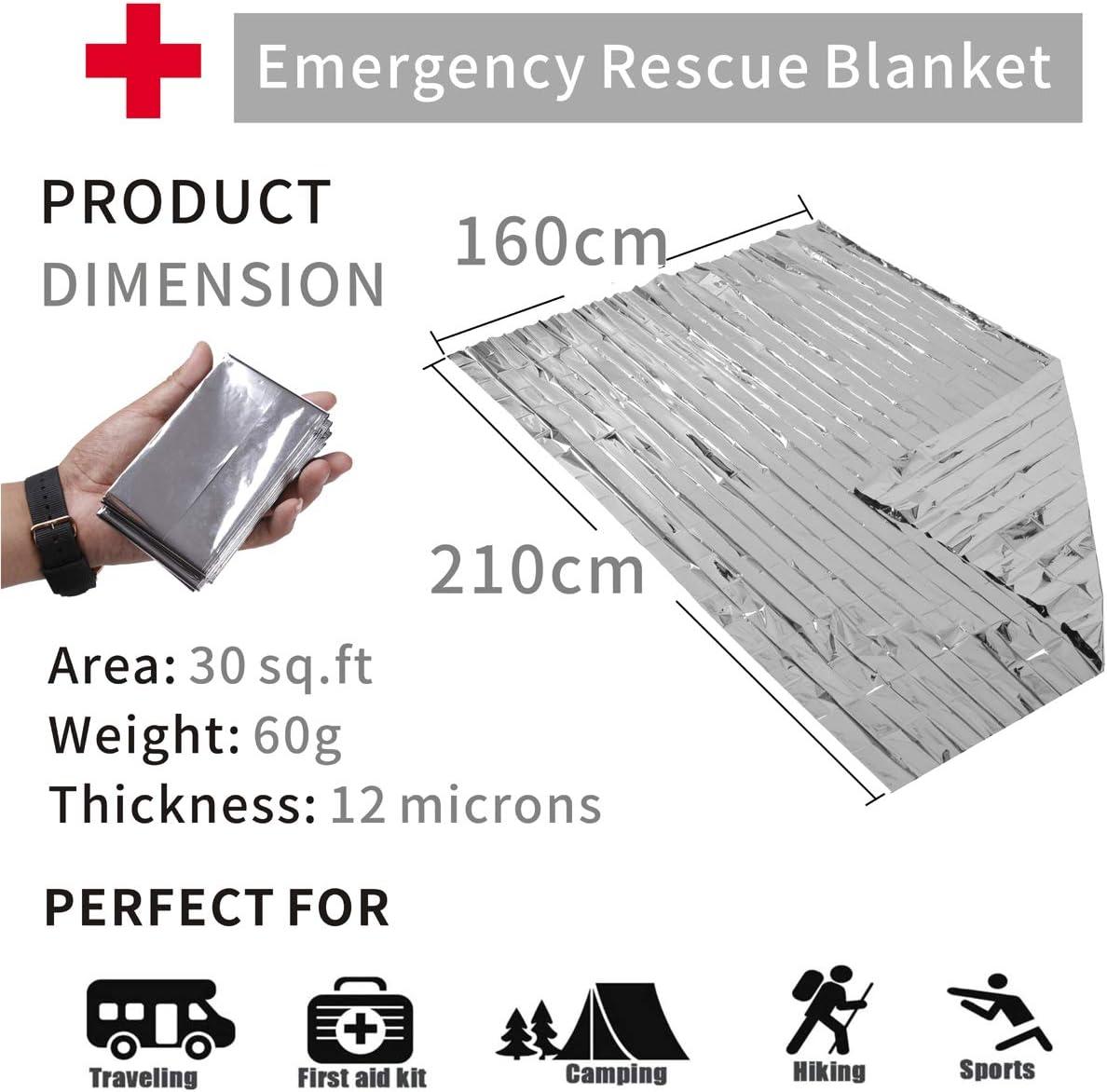 Rancheng Couverture de Survie durgence 210x160cm Argent/é Double Face Conserver la Chaleur du Corps Imperm/éable Couvertures Thermique pour Randonn/ée Camping