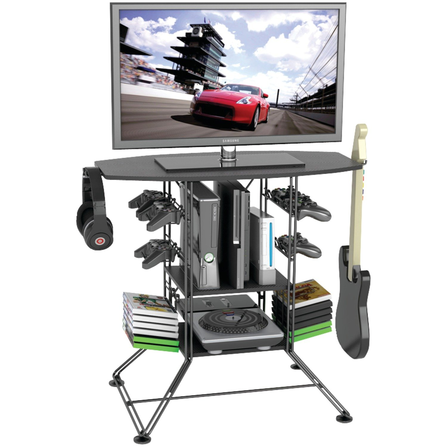 Atlantic Black Centipede Game Storage and 37' TV Stand 45506147