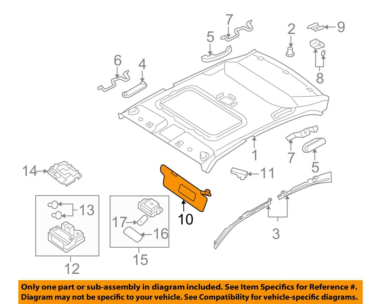 Kia Genuine 85201-2G260QW Sun Visor Assembly