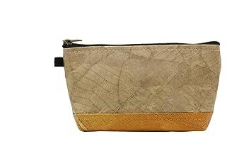 Kosmetiktasche aus Blättern Naturprodukt veganes Leder Cruelty Free and Handmade robuster Lederersatz wasserabweisendes Portemonnaie