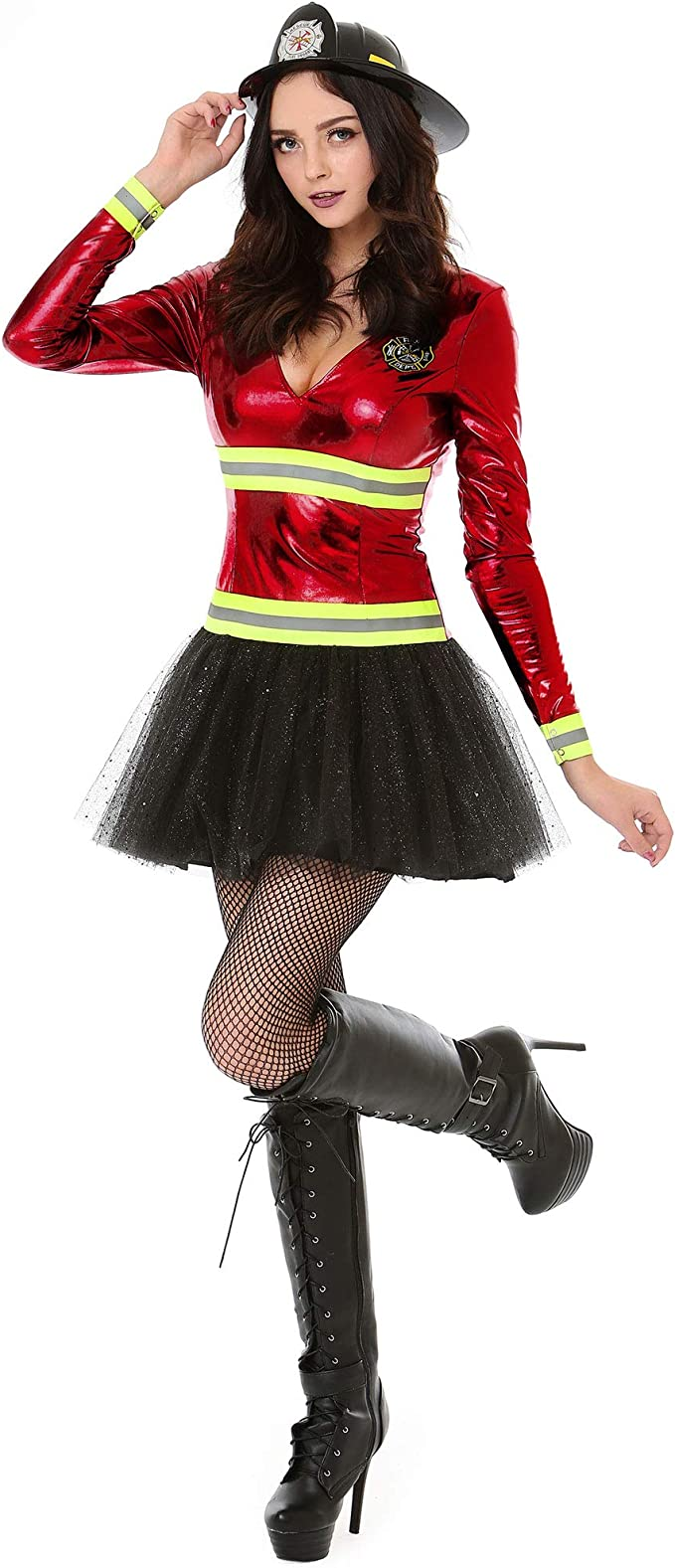 Amazon.com: ¡Boo! Inc. Disfraz de bombero para mujer ...