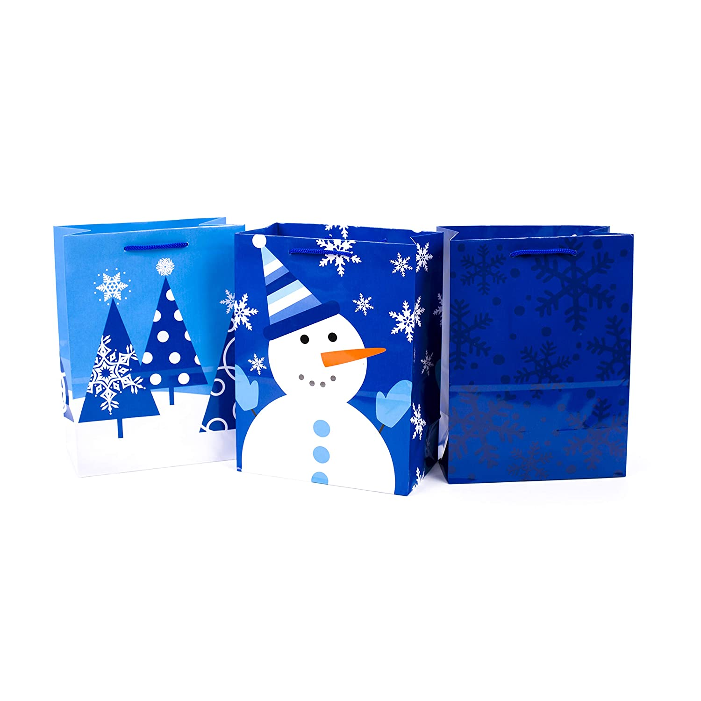 Hallmark Medium Holiday Gift Bags Blue Pack Of 3 Snowman Snowflakes Trees