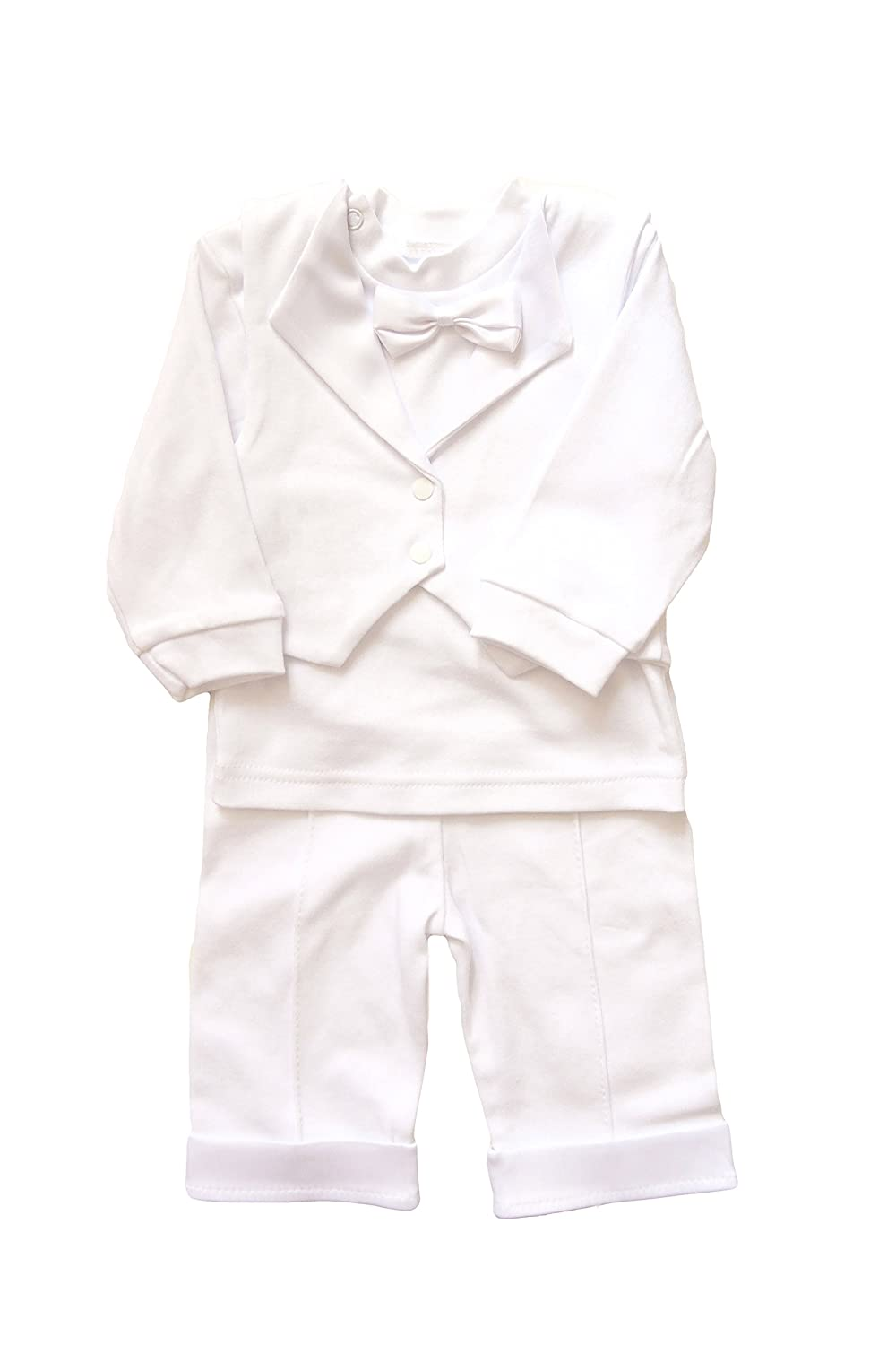2a585cd21b8 Amazon.com  White Christening Baby Suit Cotton Baptism Baby Boy Suit  Embroidered Pattern (9-12 month H-80 cm)  Baby