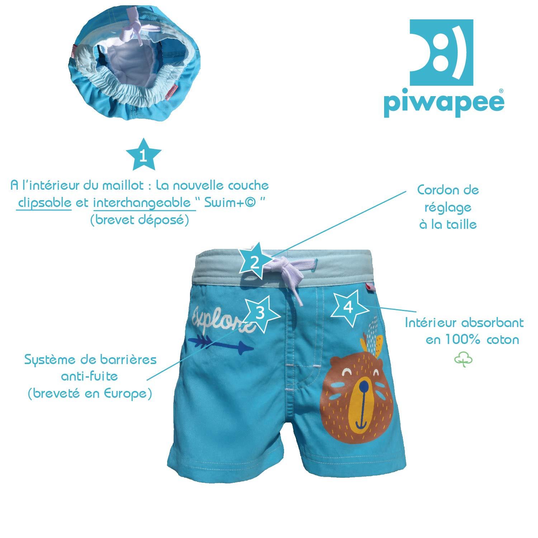 Piwapee anti fuite Bleu Castor Short avec couche de bain clipsable Swim 6-12 M 8-11 KG
