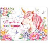 Flower Girl Unicorn Jigsaw Puzzle Game Will You Be Our Flower Girl Puzzles for Birthdays, Festival, Christmas, Bridesmaids, W