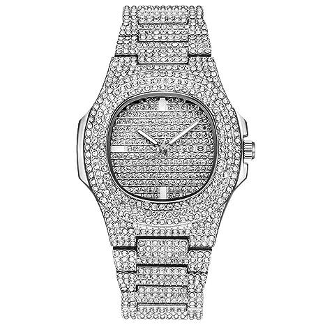 Mens Relojes, Marca de Lujo Moda Diamante Fecha Reloj de Cuarzo, Diamante Marca de