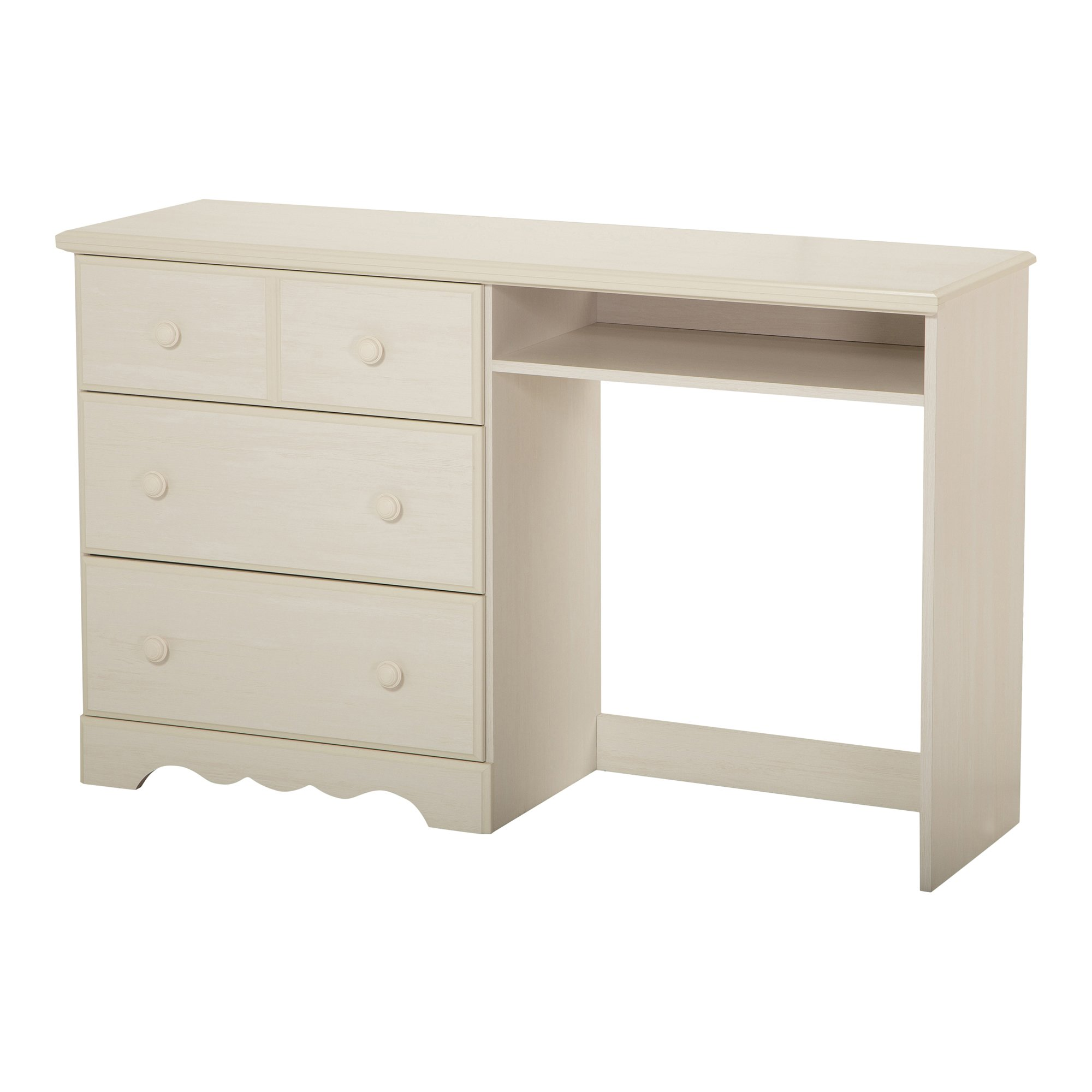 South Shore Summer Breeze Desk with 3 Drawers, White Wash