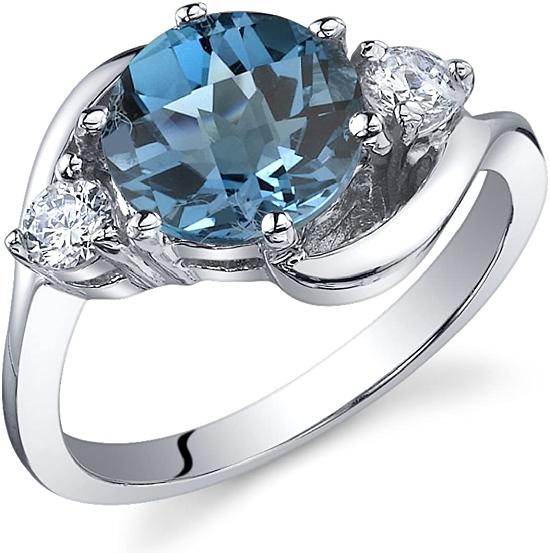 Swiss Blue Topaz Solitaire Style Ring Sterling Silver Rhodium Nickel Finish 2.25 Carats Sizes 5 to 9