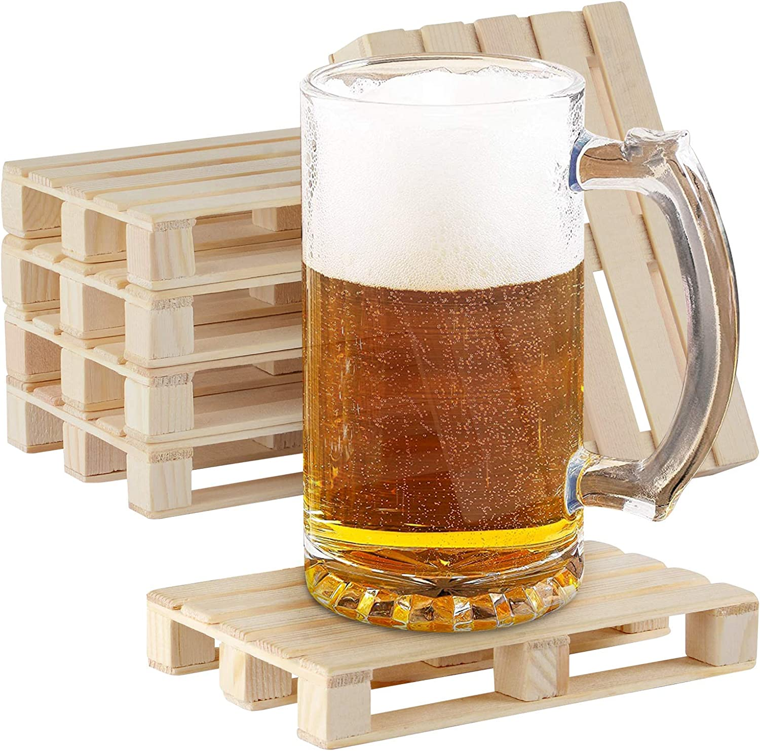 Linkidea 6 Packs Mini Wooden Pallet Beverage Square Coasters, for Hot and Cold, Beer Drinks Bars Restaurants Living Rooms (Native Wood)
