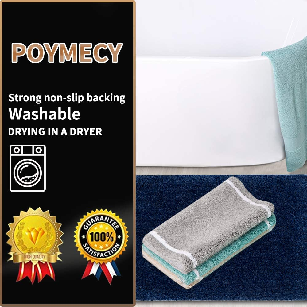 Poymecy Bathroom Rug Non-Slip Soft Water Absorbent Thick Large Shaggy Floor Mats,Machine Washable,Bath Mat,Bathroom Thick Plush Rugs for Shower Brown,32x20 Inches