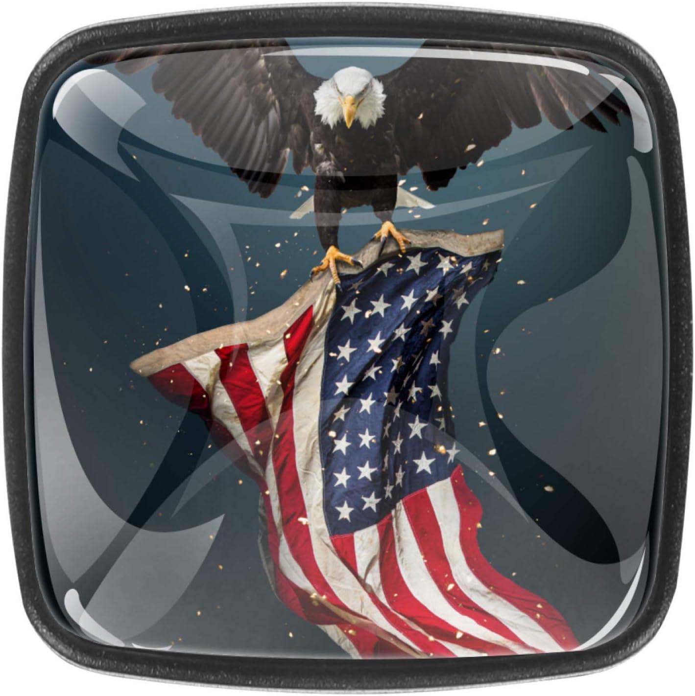 Kitchen Cabinet Knobs - American Flag Eagle - 1.18 Inch Round Drawer Handles - 4 Pack of Kitchen Cabinet Hardware