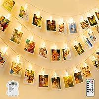 BrizLabs Clip Cadena de Luces, 50 LED Foto Clip Luces Interior Exterior Batería 8 Modos Impermeable Fotoclips Guirnalda…