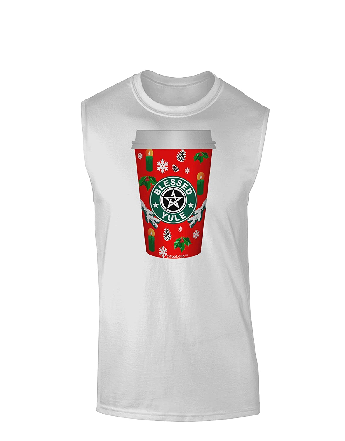 TooLoud Blessed Yule Red Coffee Cup Muscle Shirt