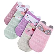 Dicry 5 Pairs Newborn Baby Girl Socks Cartoon Animal Breathable Ankle Socks 0-6 Months