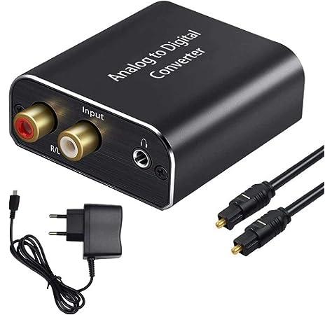AMANKA Convertidor Analógico a Digital,Convertidor de Señal de Audio Análogo ,Análogo Estéreo R/L RCA a Digital Óptico Coaxial Toslink SPDIF Audio Converter con Óptico Cable.: Amazon.es: Electrónica