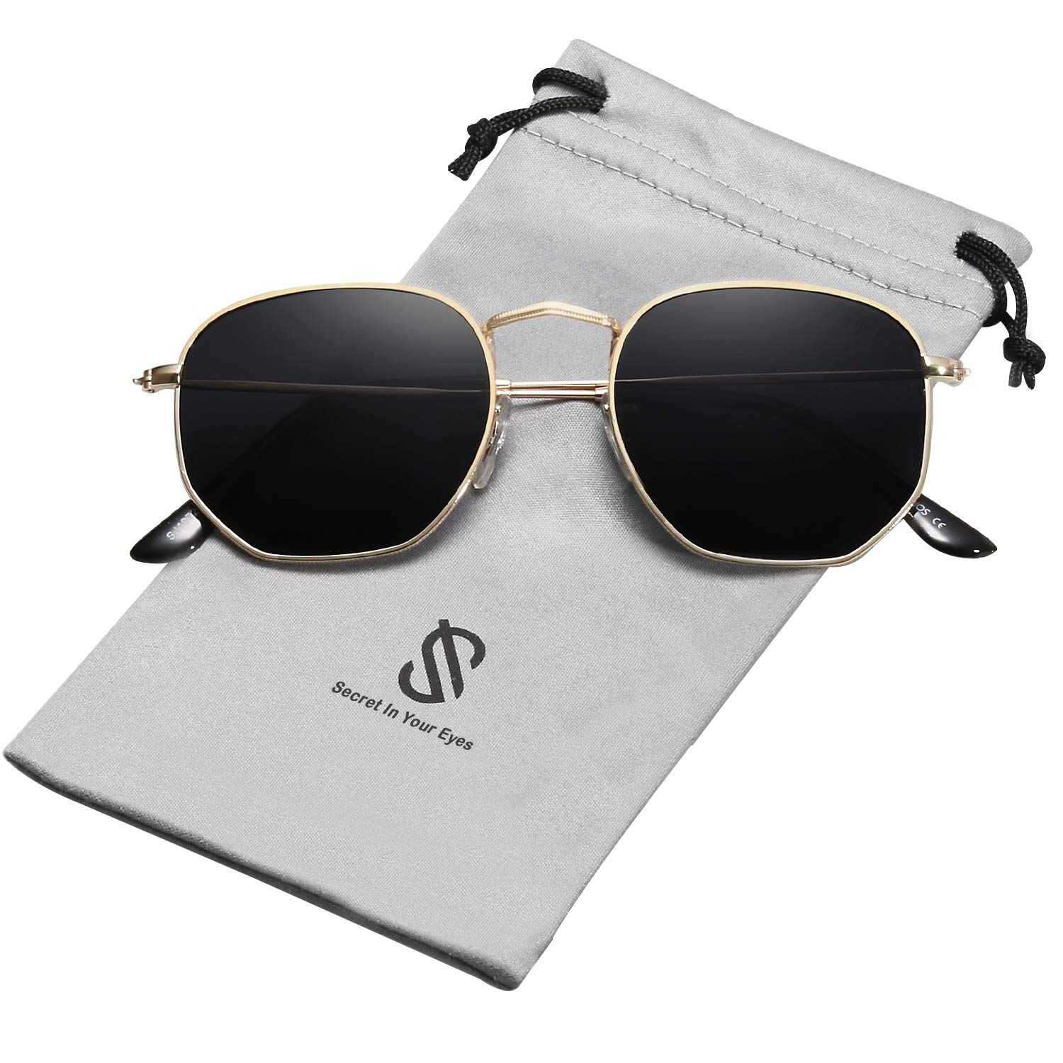 SOJOS Small Square Polarized Sunglasses for Men and Women Polygon Mirrored Lens SJ1072 with Gold Frame/Grey Polarized Lens by SOJOS