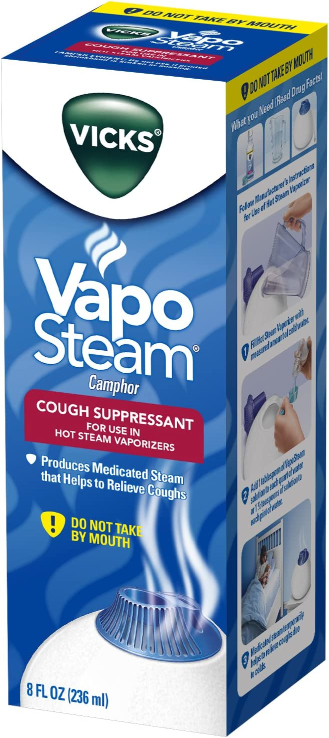 Vicks VapoSteam Medicated Liquid with Camphor, a Cough Suppressant, 8 Oz – VapoSteam Liquid Helps Relieve Coughing, for Use in Vicks Vaporizers and Humidifiers: Health & Personal Care