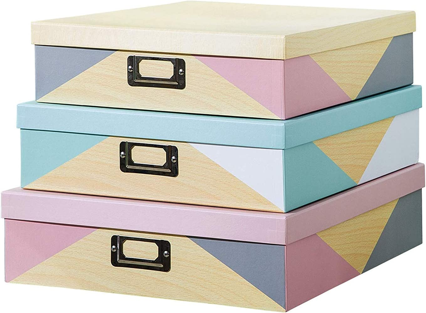 SLPR Decorative Storage Cardboard Boxes with Lids (Set of 3, Nordic Triangles) | Nesting Gift Boxes for Photos Memories